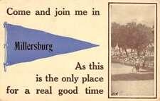 Millersburg Pennsylvania Horse Trotting Pennant Flag Antique Postcard K77952