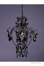 DUSX Vintage Pure Black Crystal French Glass Chandelier Light
