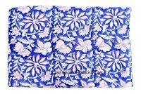 Corsa Mano Blocco Puro Cotone Tessuto Sanganeri Stampa 2.7m Da Indiano Rosa Blu