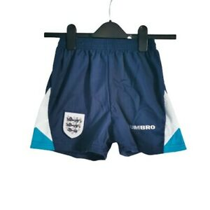 England Kids Shorts Blue Navy Size 12-14 Years 28in 1995/97 Home Umbro Football