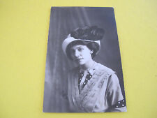 Lady with Bird Wing on Hat Edwardian RPPC Postcard
