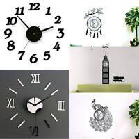 Modern DIY Wall Clock 3D Mirror Surface Sticker Removable Home Office Room Decor