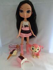 """Yummi Land Nikki Neopolitan Ice Cream Pop Doll & Pink Monkey Brunette Hair 12"""""""