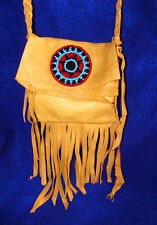 """5x5"""" Leather Fringed Leather Bag w/ Rosette & Braided Strap Native American 03"""