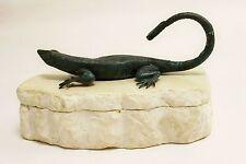 Mid Century Modern Bronze Lizard Tessellated Stone Box Karl Springer Style