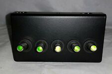 Black Powder Coated  Switch Panel with 5 Green LED switches