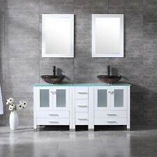 60'' Bathroom Vanity Cabinet Double Glass Vessel Sink W/ Faucet Mirror White Set
