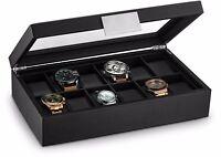 Glenor Co Large 12 Slot Watch Box for Men - Carbon Fiber Design Case - Black