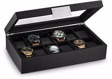 Glenor Co Large 12 Slot Watch Box for Men - Carbon Fiber Design Case - Black