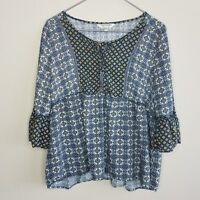 Tantrums Knit Tunic Top Blouse XL Blue 3/4 Sleeve Peasant Boho Buttons Women's