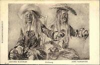 Künstlerkarte ~1920 Museum Berlin Abbé Haranger nach Zeichnung Antoine WATTEAU