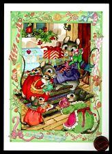 Vintage Mouse Mice Cookies Presents - Embossed - Christmas Greeting Card Unused