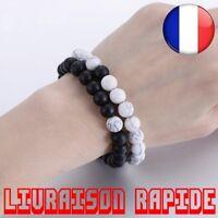 1/2 Pcs Couples Distance Bracelet Pierre Naturelle Blanc et Noir Yin Yang Perlée