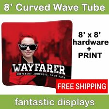 8ft Curved Tube Display with Print - Wavy Pop Up Trade Show Backdrop Graphic