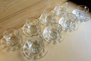 Vintage ARCOROC France 'PETALE', Thumbprint Glass Cups & Saucers- Set Of 8