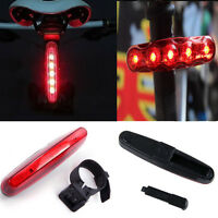 Cycling Bike Bicycle Red 5 LED Night Super Bright Rear Tail Light 4 Modes Lamp
