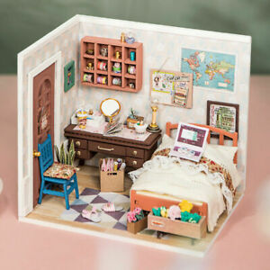 Rolife Bedroom Miniature Dollhouse 1:24 with Furniture Kits Gift for Girls Teens