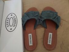 Steve Madden Womens Getdown Flat Sandal Blue Suede Size 6 New in Box