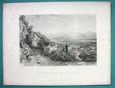 TURKEY View of Aydin Guzel Hissar - 1840 Antique Print Engraving by Allom