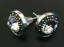 Stud Earrings Silver Tone Diamante