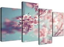 Large Duck Egg Blue Pink Shabby Chic Blossom Floral Canvas Split 4 Set - 4280