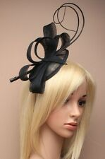 NEW Black sinamay cap fascinator loops ostrich quills aliceband wedding prom