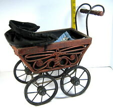"Vntg. Med. Sz. 16"" x 14"" x 8"" Doll-Baby Buggy/Cain-Metal-Wood-Can vass/Very Nice!"