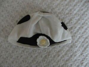 Gymboree 6 9 12 18 months Girls Cow Daisy Cap Beanie black white sweater
