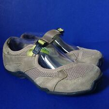 Ahnu 2302 Mush Brown Suede Leather Lime Green accent Mary Jane Sport Shoes~US 7