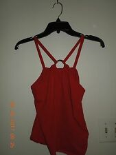 """NWOT BCBG Max Azria Lipstick Red Silk Blend Cami with Silver """"O"""" Ring Large"""