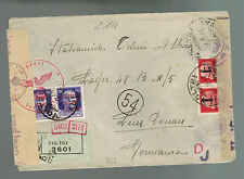 1944 Voltri Italy Dual Censored Cover to Germany Linz Donau Concentration Camp