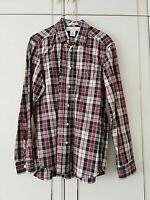 H&M LOGG MENS BLACK RED BEIGE CHECKED FITTED SHIRT SIZE SMALL LONG SLEEVE POCKET
