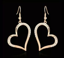 Dynamic  rose gold plated heart shape Austrian crystals dangle earrings