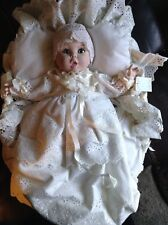 "15"" Gerber Porcelain Baby Doll In Basket"