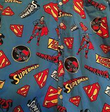 Vtg Superman Button Up Shirt TM DC Comics The Man Of Steel Nerd Geek Size M