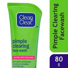 Clean and Clear Face Wash, Pimple Clearing, 80 g Oil Free with Neem and Lemon