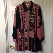 BRYLANE WOMENS LONG SLEEVE BUTTON FRONT BLOUSE SHIRT TOP,  SIZE 22W