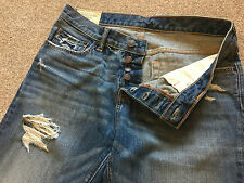 BNWOT Abercrombie & Fitch Knopfleiste Ripped Destroyed Jeans 32 W 34 L Kosten £ 90