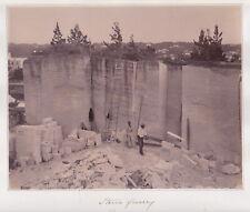 Stone Quarry & Black Stonecutters : Bermuda : Rare LARGE c. 1870s albumen photo