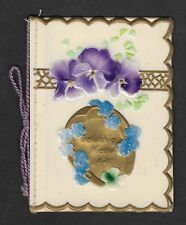 1800's New Year Note Book - Celluloid Cover includes Violet and Horseshoe