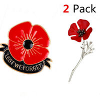 2 Styles Poppy Flower Broochs A lest we forget Pin and A Vintage Style Lapel Pin