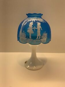 Vintage Westmoreland Glass Fairy Lamp Turquoise Satin Glass Mary Gregory