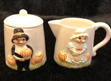 White Cream & Sugar Turkey/pumpkin Ceramic/porcelain Holland Floral Inc 1990 Vtg