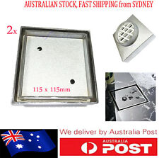 2x NEW SMART SQUARE FLOOR GRATE WASTE DRAIN TILE INSERT BRASS/CHROME 115mm/75