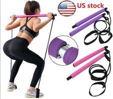 Portable Pilates Bar Kit W/Resistance Band Adjustable Exercise Stick Toning Gym