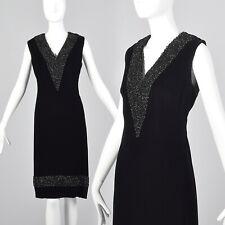 L 1960s Black Velvet Dress Heavy Beading Sleeveless Shift Style Cocktail 60s VTG