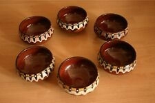 Um 1960 alte Volkskunst Keramik Pfauenauge 6 Suppentassen Dessert Sekt Schalen