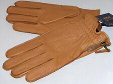 POLO RALPH LAUREN Men's Side Zip Deerskin Leather Gloves, Wool Lined, Tan Brown
