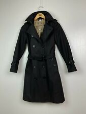 Burberry Westminster Nova Check Long Heritage Trench Coat Black Cotton Size S