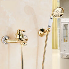 Luxury Gold Wall Mounted Bathtub Faucet Bath Shower Mixer Tap With Hand Shower
